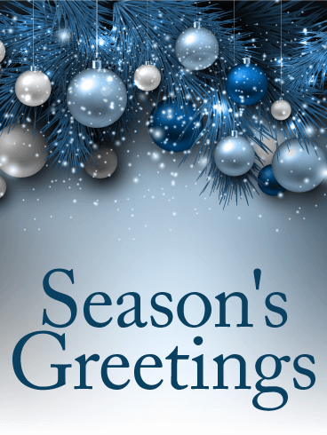 seasons greetings blue